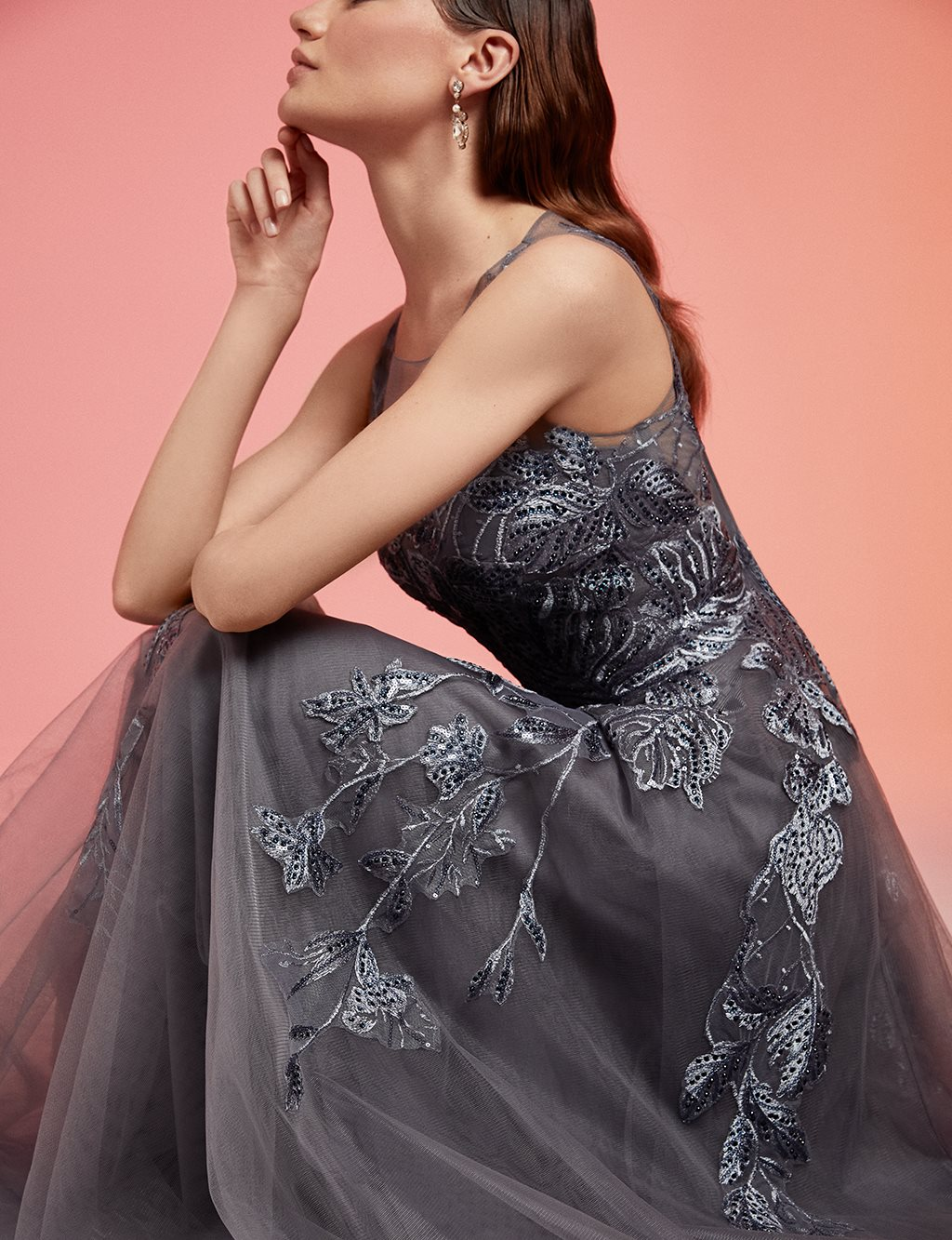 TIARA Collar Detailed Chiffon Evening Gown B20 26171