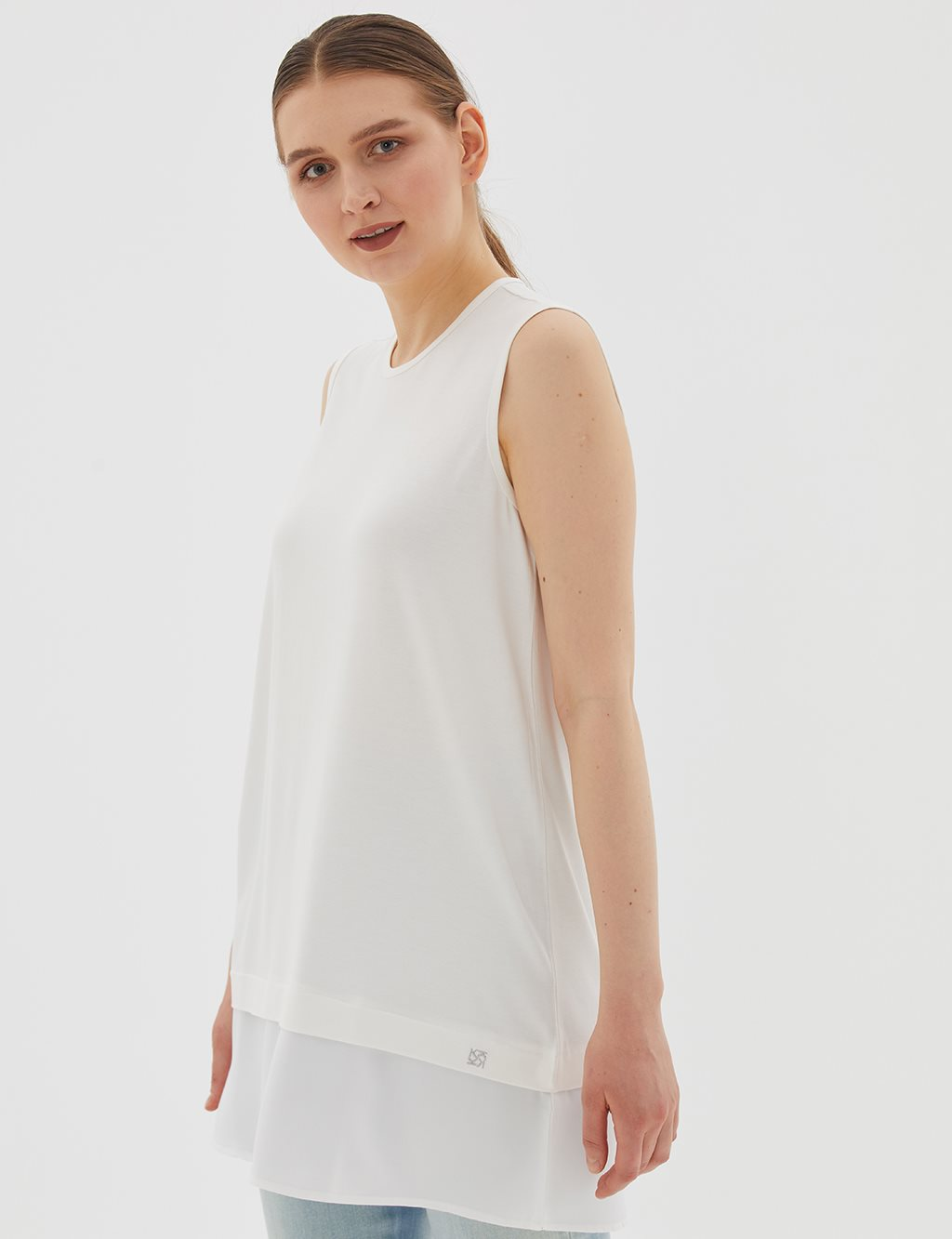 Detailed Sleeveless Combed Cotton Tunic B20 21039 Ecru