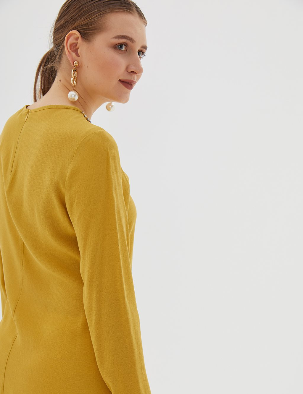 Collar Detailed Asymmetric Tunic B20 21018 Yellow