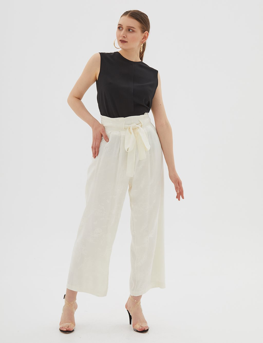 Patterned Oversize Pants B20 19186 Ecru