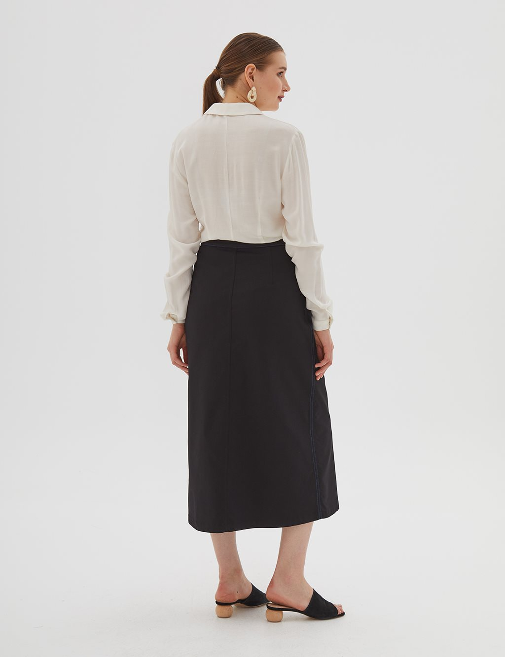 Canvas Skirt With Button Detailed B20 12022 Black
