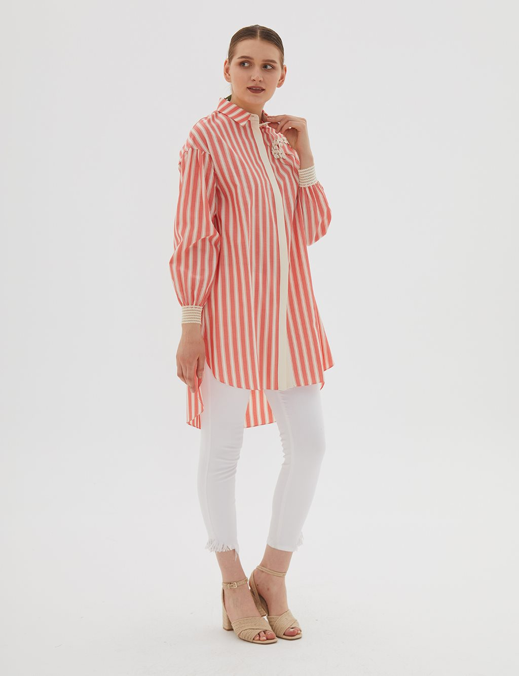 KYR Striped Tunic With Flower Details B20 81338 Pomegranate