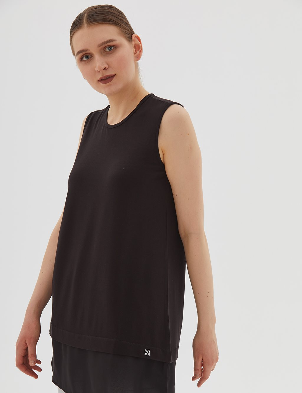 Detailed Sleeveless Combed Cotton Tunic B20 21039 Black