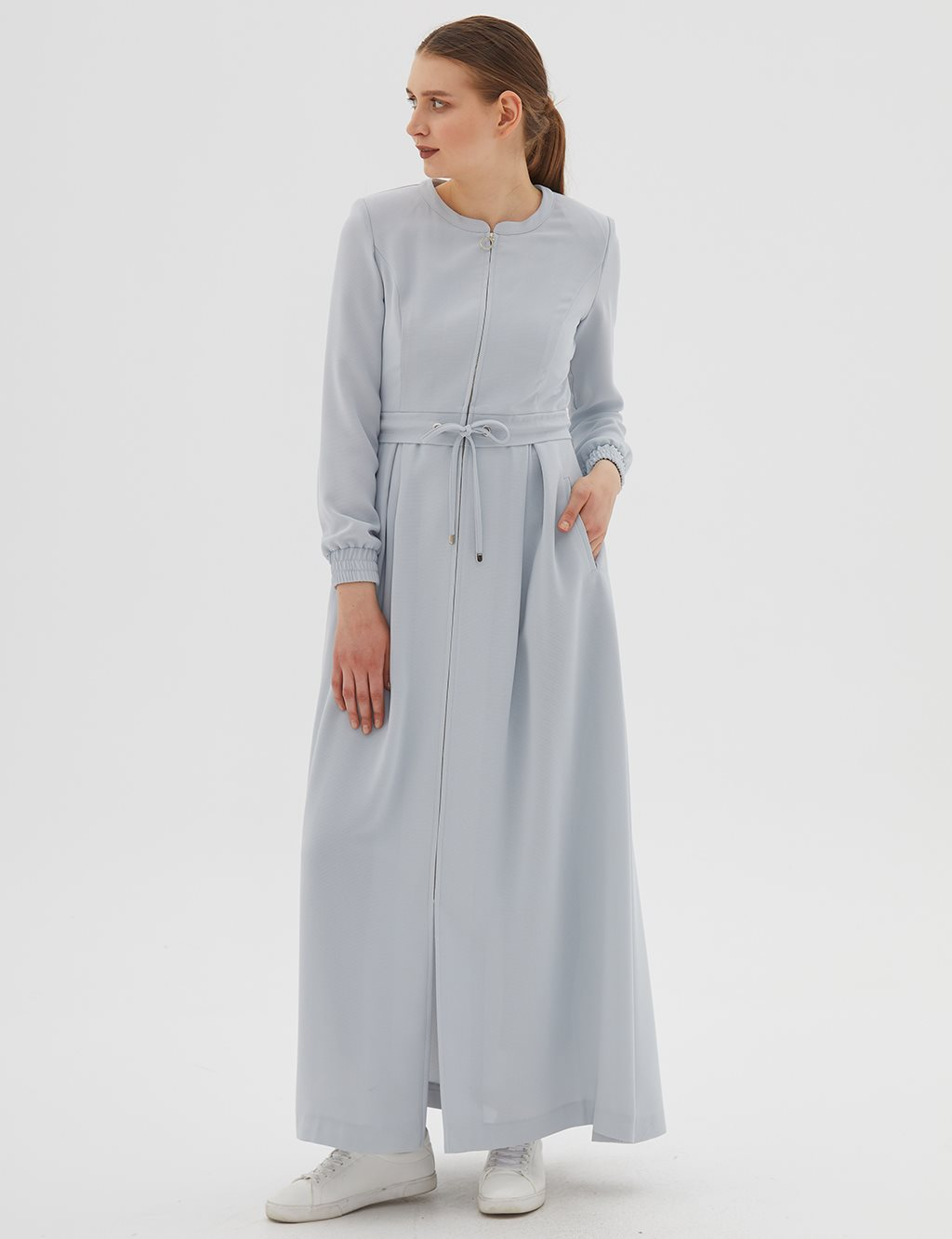 Ruched Overcoat B20 15043 Grey