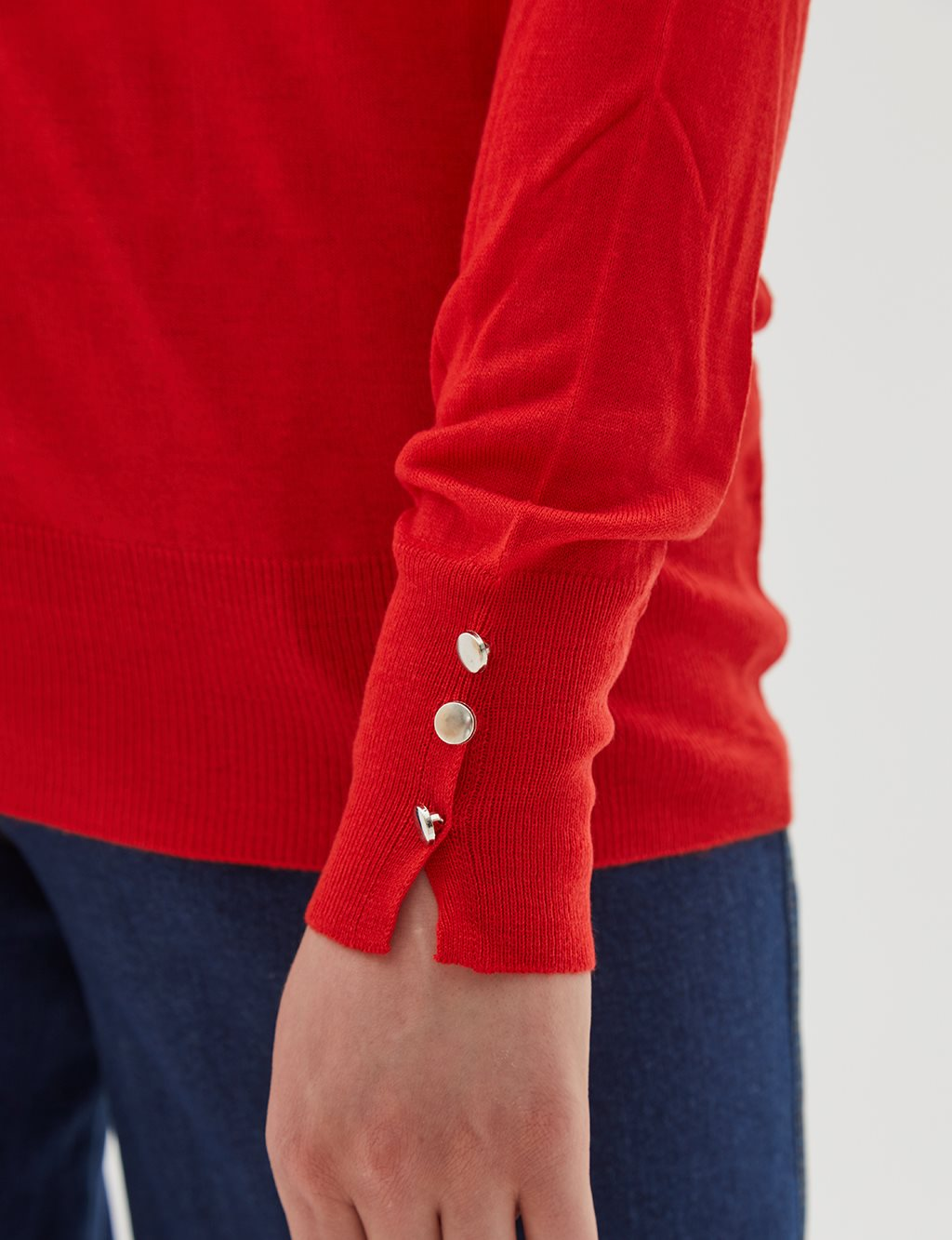 Button Detailed Knitwear Blouse B20 TRK05 Red