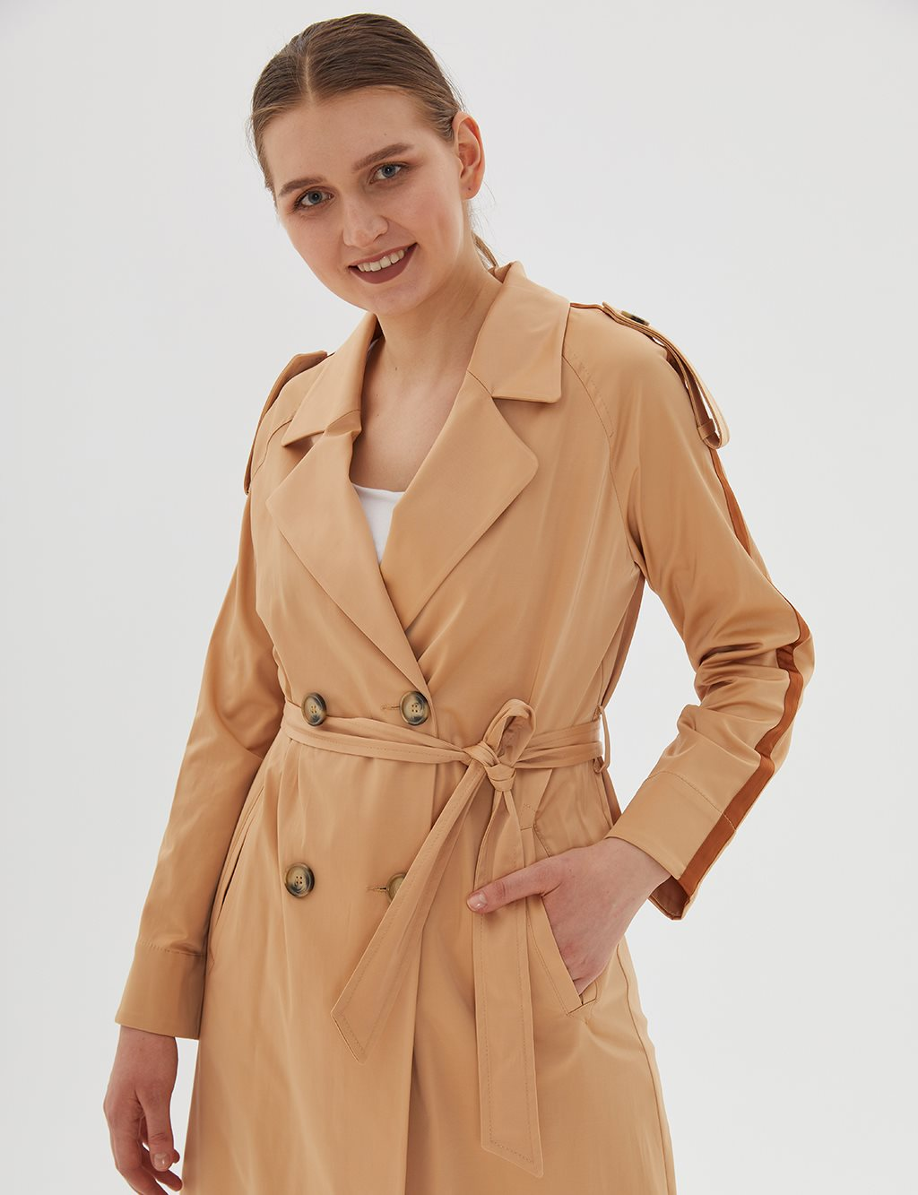 Striped Trenchcoat With Belt Beige B20 14024