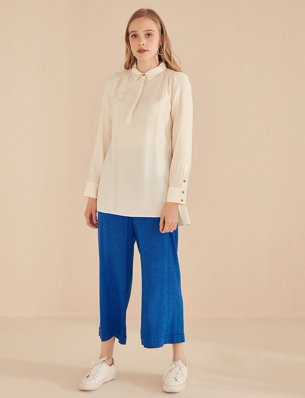 Ruched Detailed Blouse B20 10092 Ecru