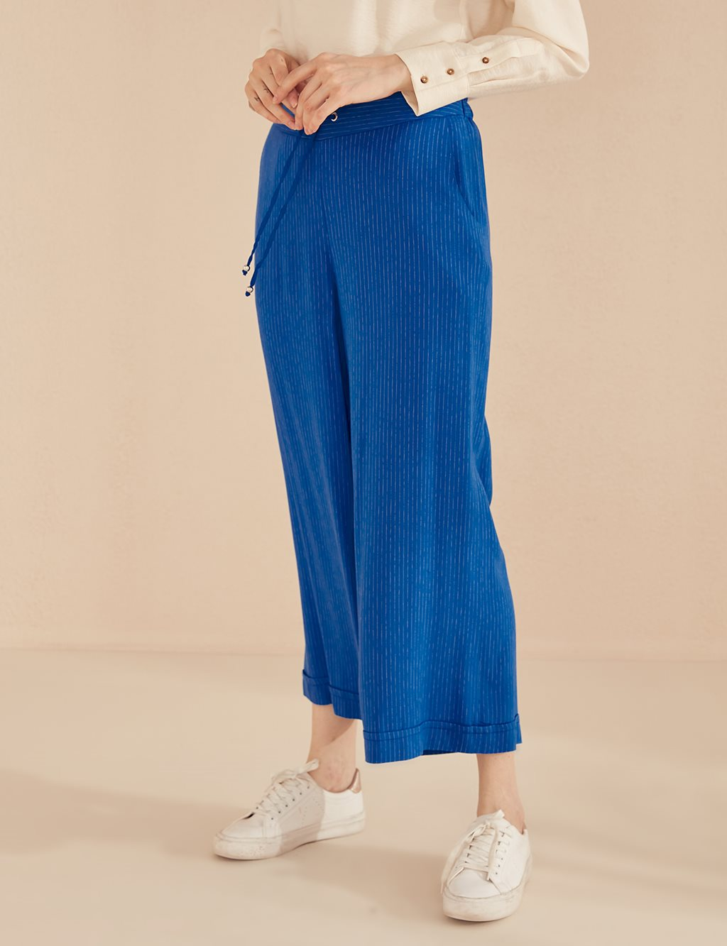 Striped Wide Leg Pants B20 19037 Blue