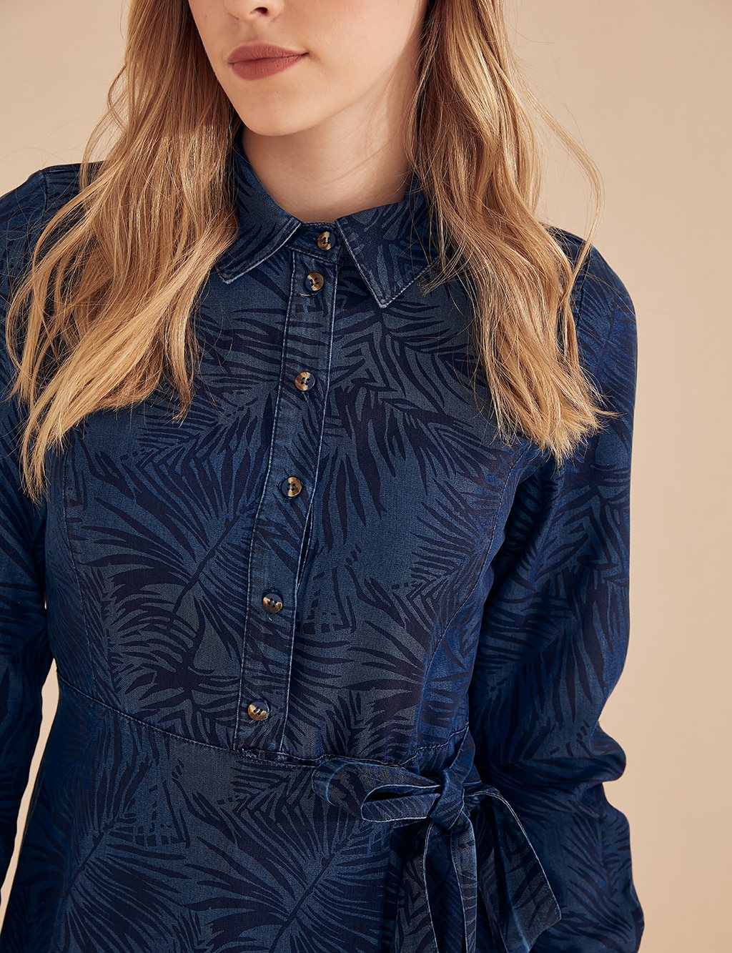 Leaf Patterned Denim Dress B20 23066 Navy