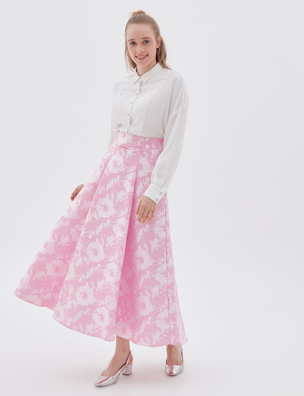 Floral Patterned Skirt B20 12054 Pink