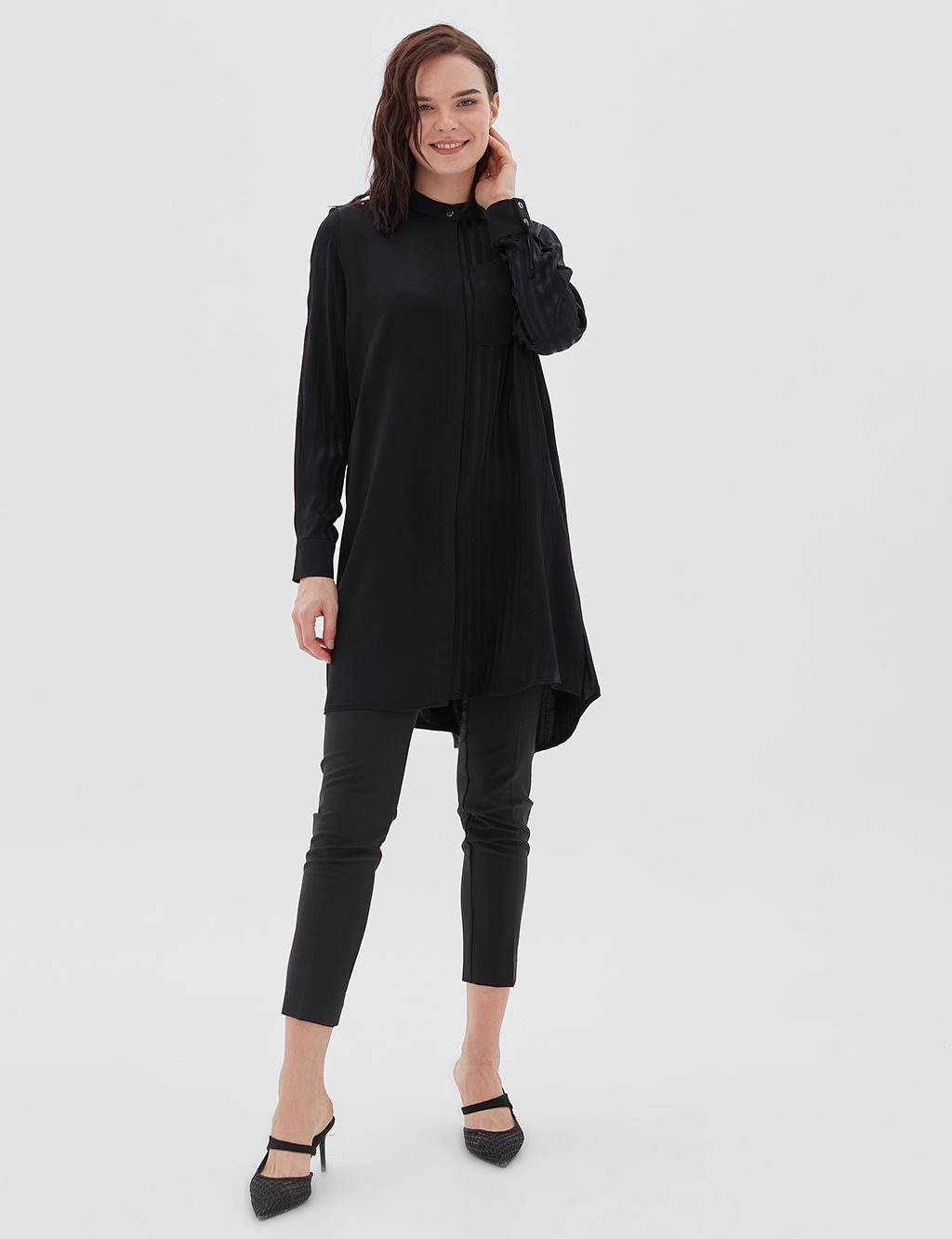 Striped Grandad Collar Tunic B20 21136 Black