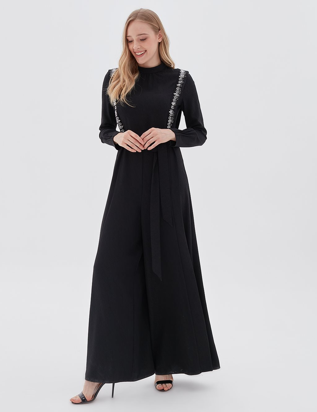 Embroidered Jumpsuit B20 22007 Black