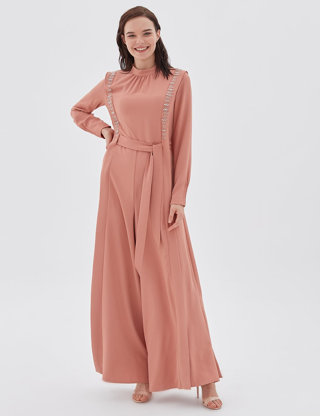 Embroidered Jumpsuit B20 22007 Light Pink
