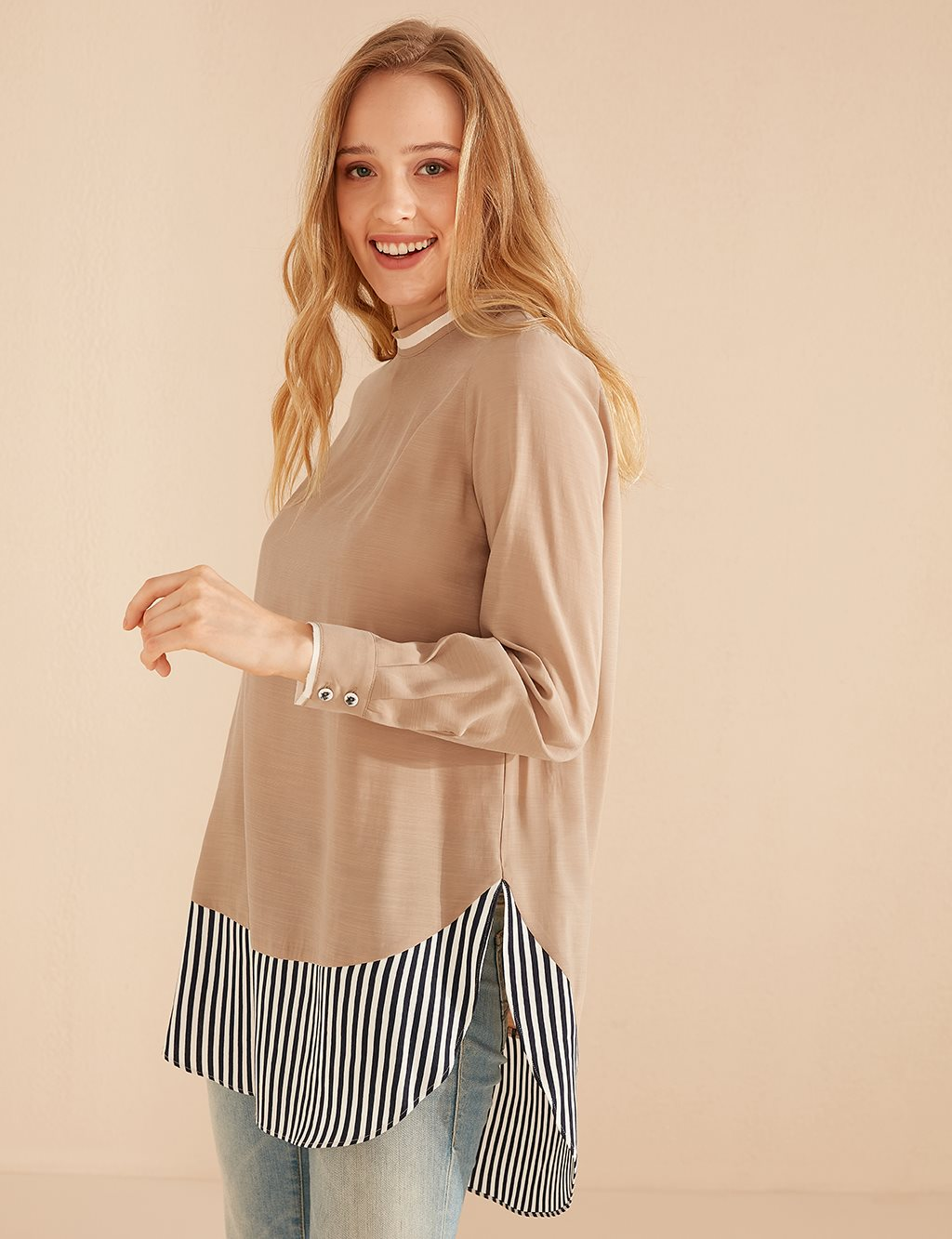 Tunic With Striped Piece B20 21023 Beige