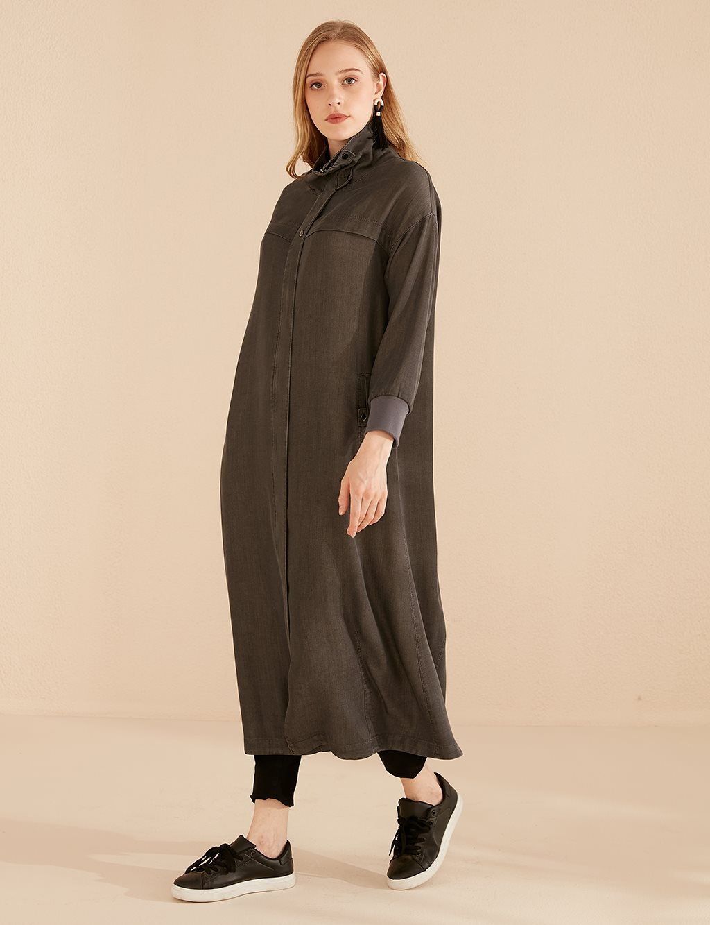 Rib Sleeve Denim Overcoat B20 25045 Smoke