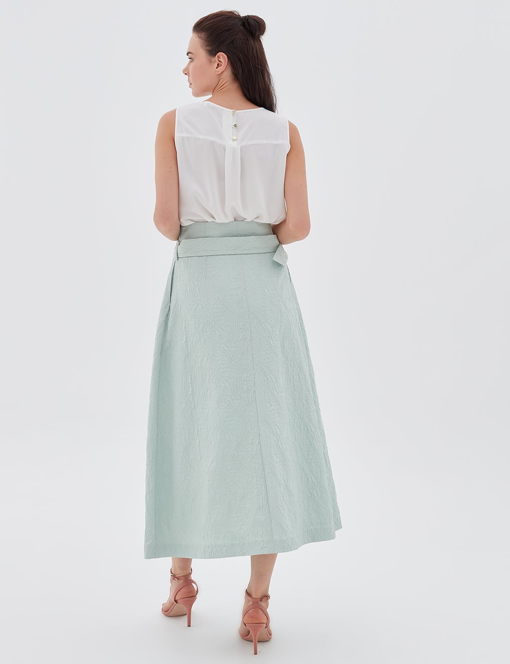 Skirt With Detailed Belt B20 12064 Water Green