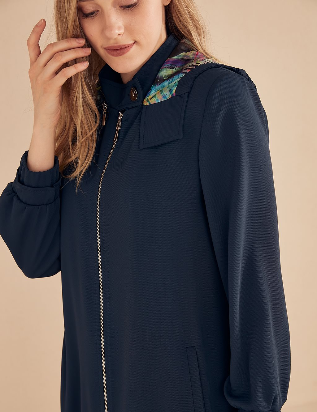 Overcoat With Colorful Hood B20 15042 Navy