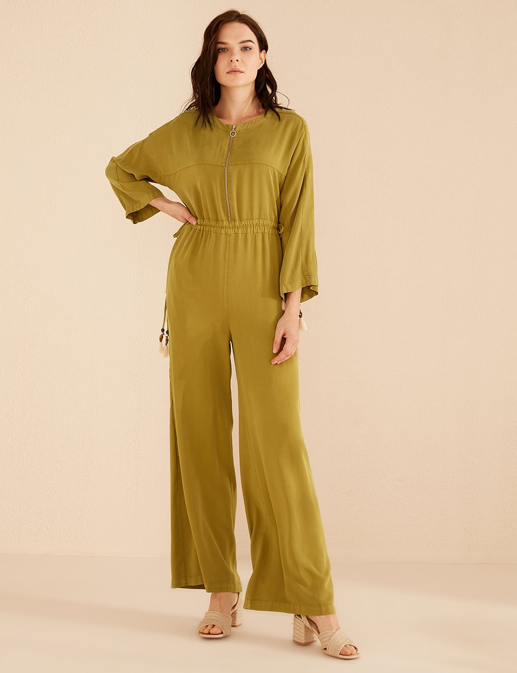 Ruched Jumpsuit B20 22002 Green