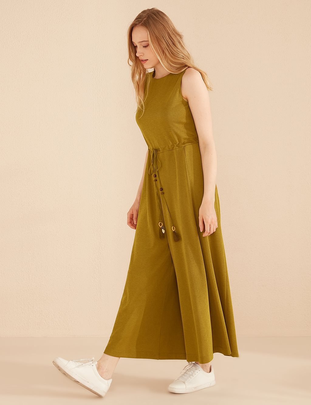 Ruched Sleevless Jumpsuit B20 22012 Olive