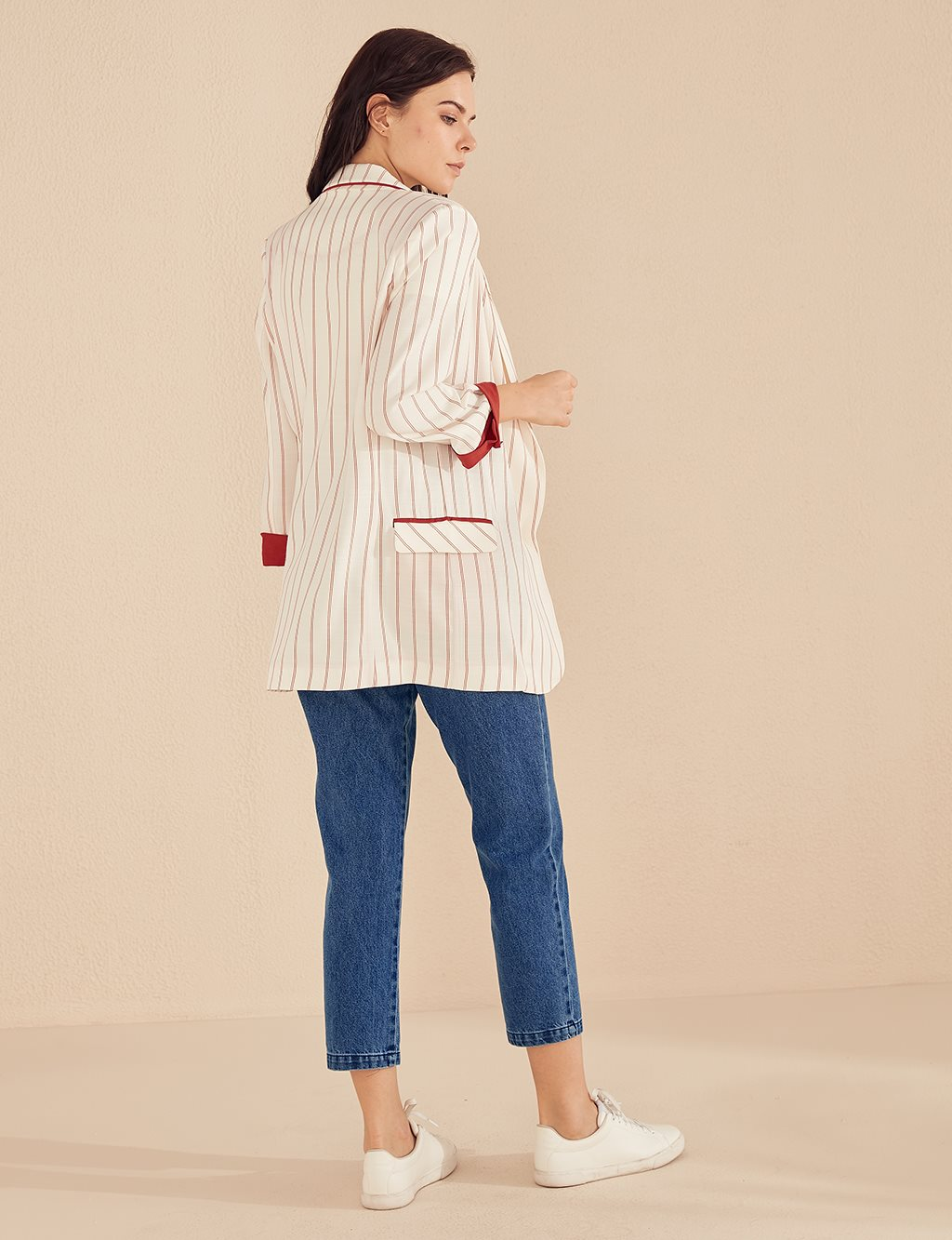 KYR Striped Blazer Jacket B20 73007 Ecru