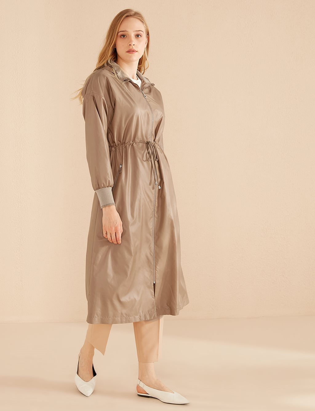 Ruched Coat With Zipper B20 14021 Beige