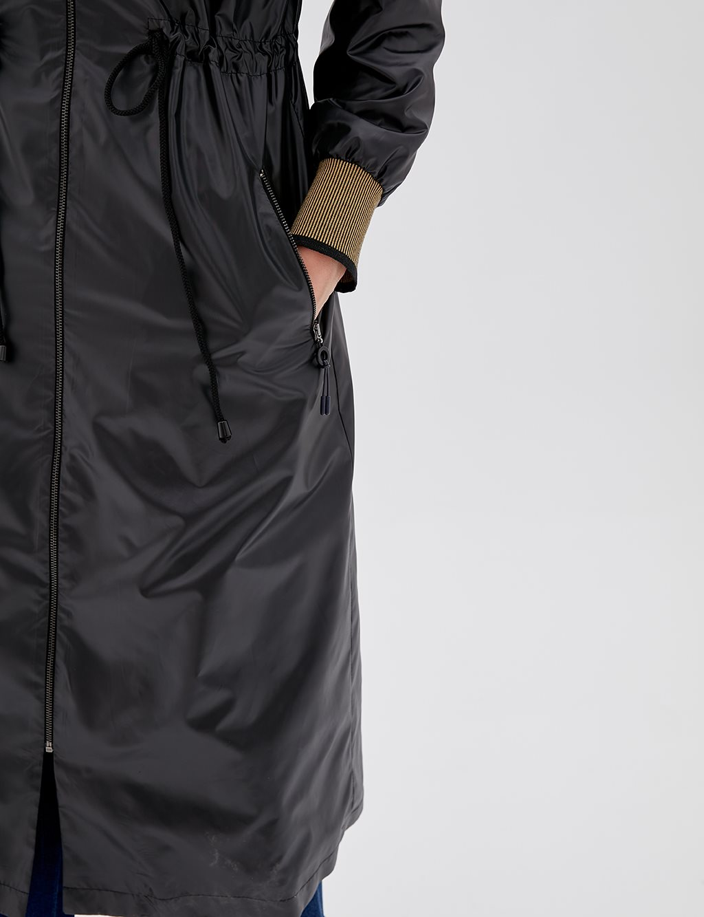 Ruched Coat With Zipper B20 14021 Black