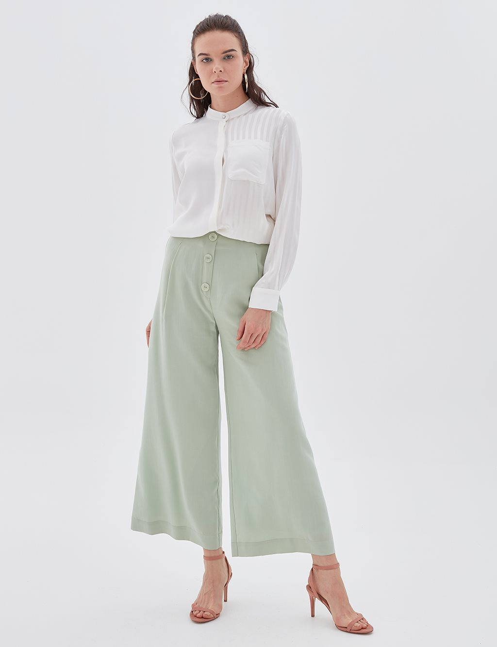 Wide Leg Pants B20 19194 Water Green