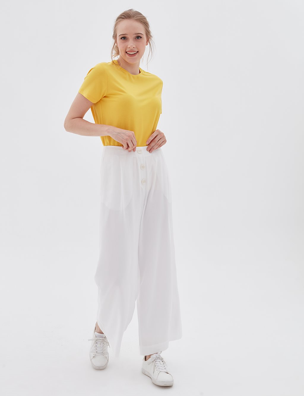 Wide Leg Pants B20 19194 White