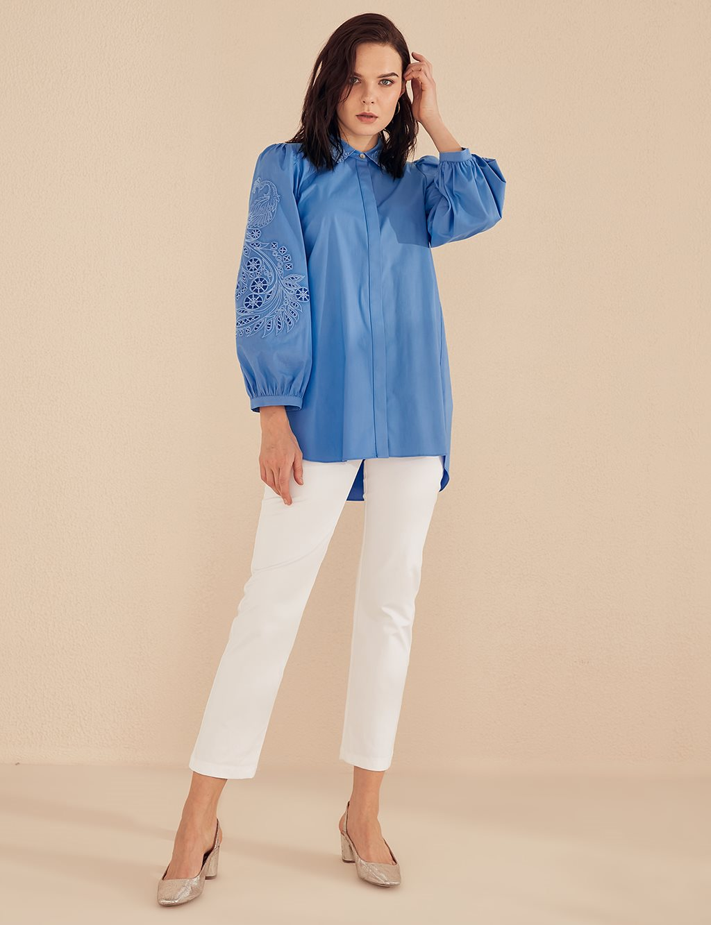 Sleeve Detailed Shirt B20 10046 Blue