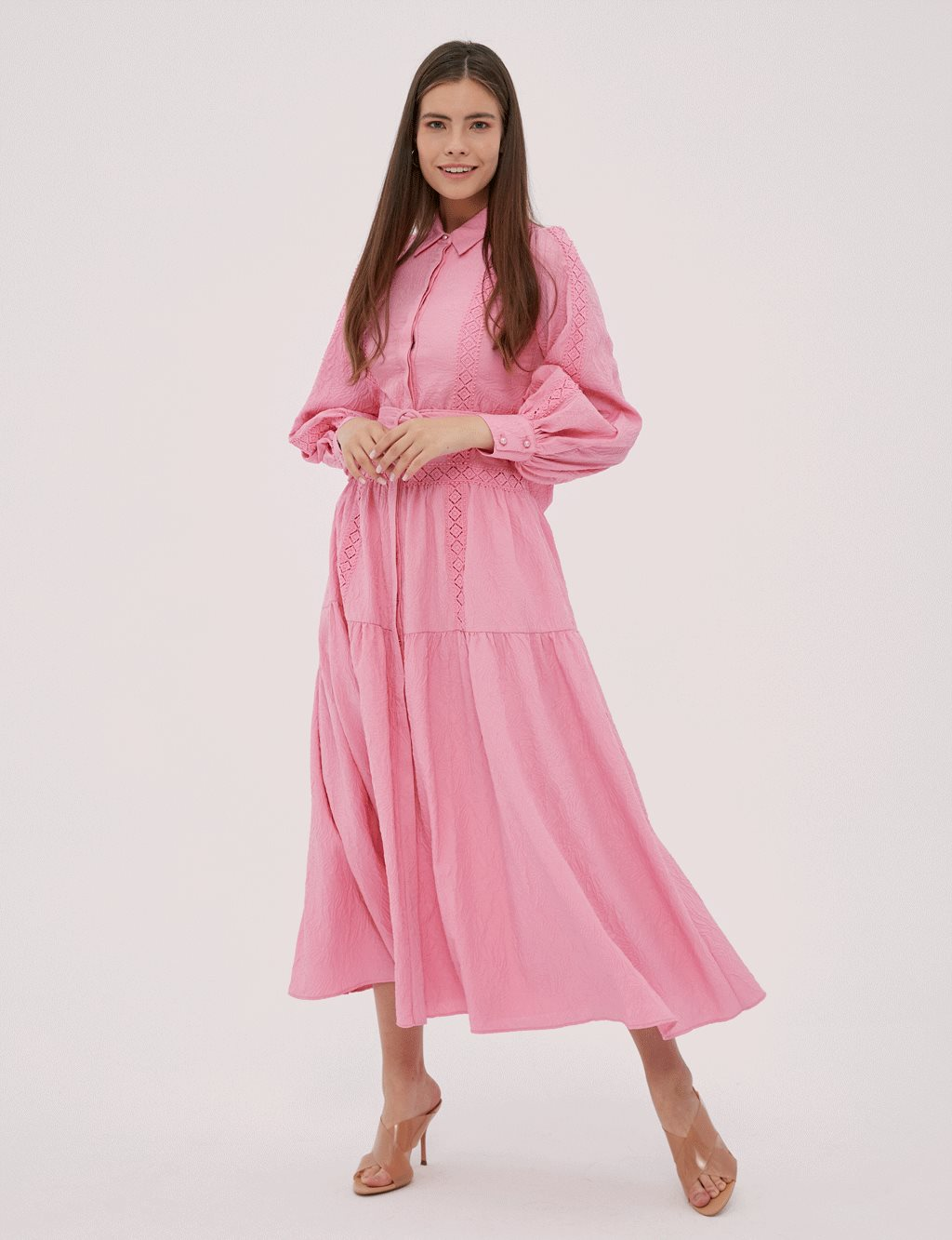 Balloon Sleeve Eyelet Detailed Dress B20 23065 Pink