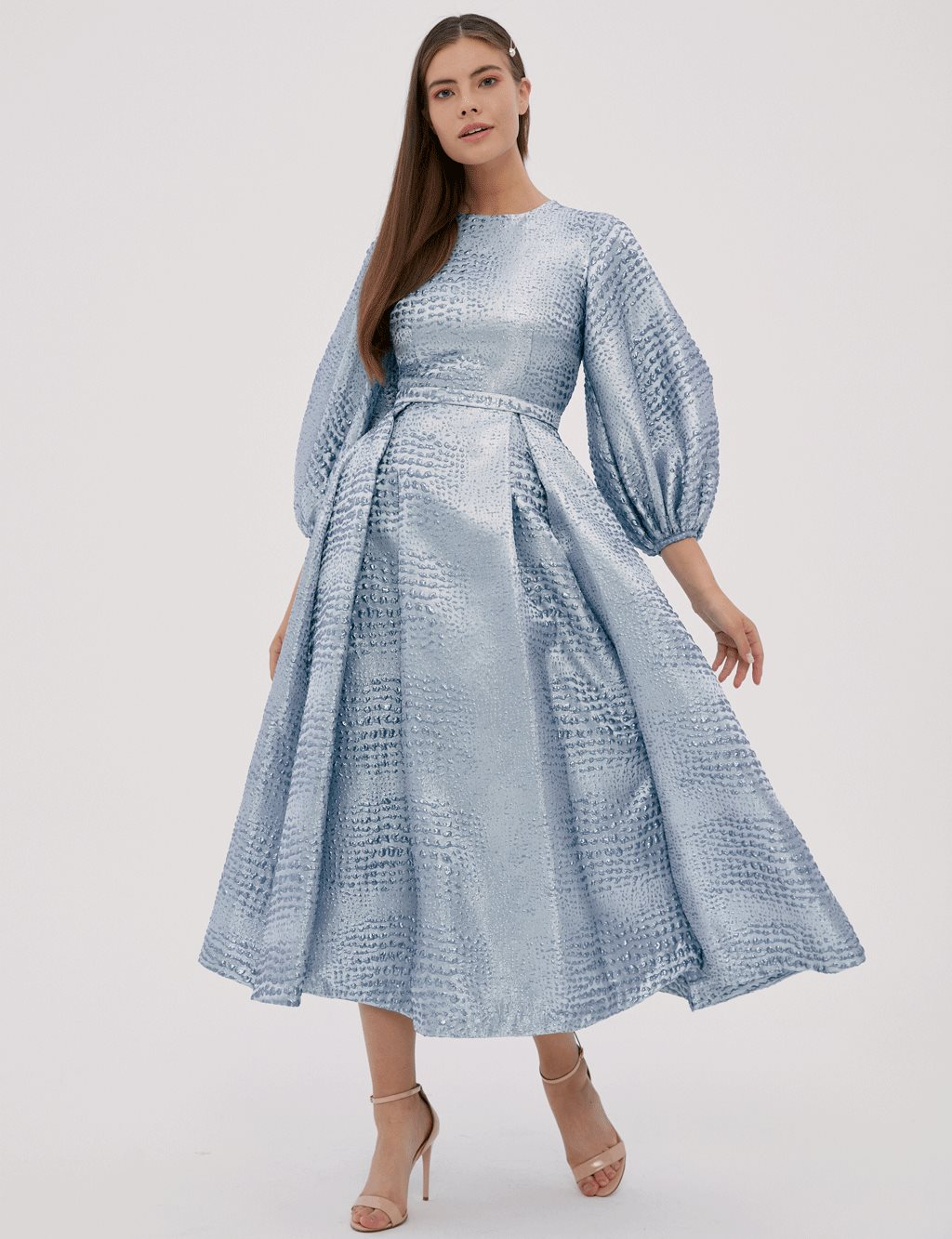 Puff Sleeve Baby Blue Dress A20 23005
