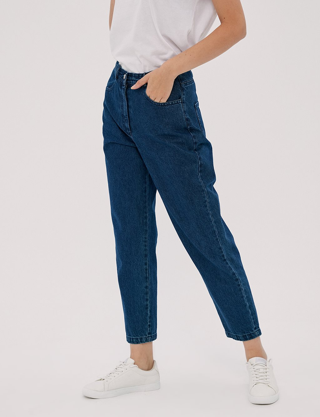 Basic Mom Jeans Lacivert A20 19007
