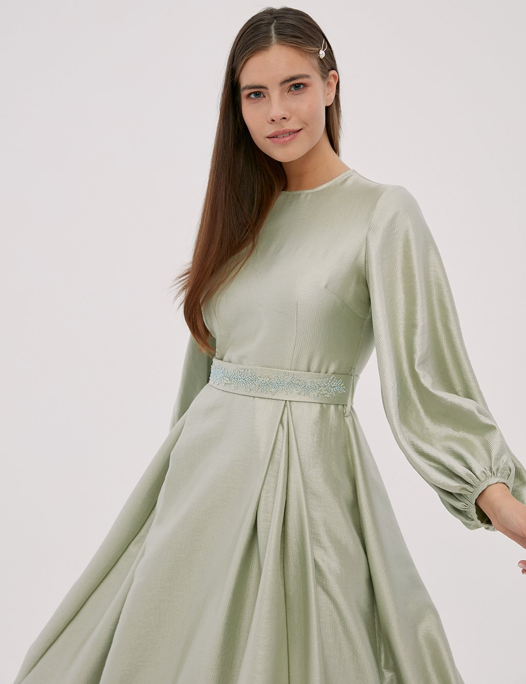 Balloon Sleeve Dress Mint A20 23029