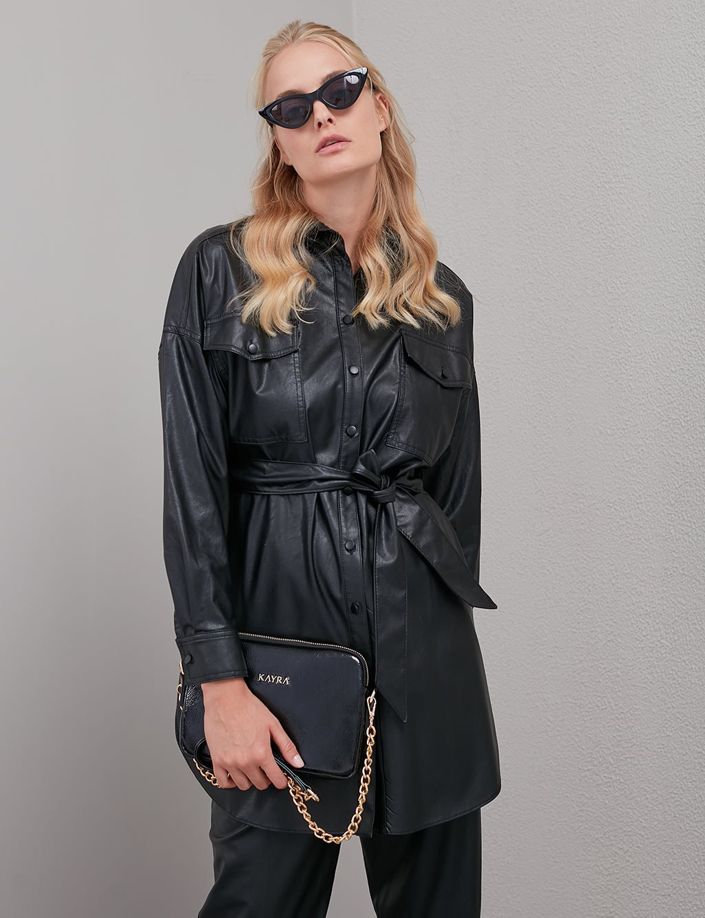 Pocket Belted Leather Tunic A20 21139 Black
