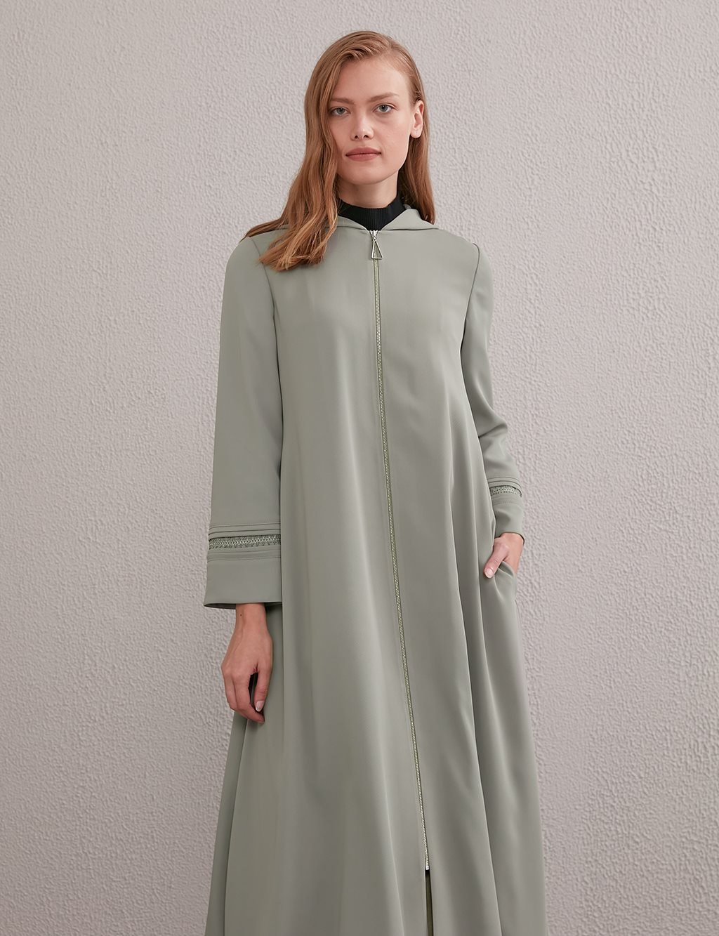 Long Trenchcoat With Hood A20 25016 Water Green