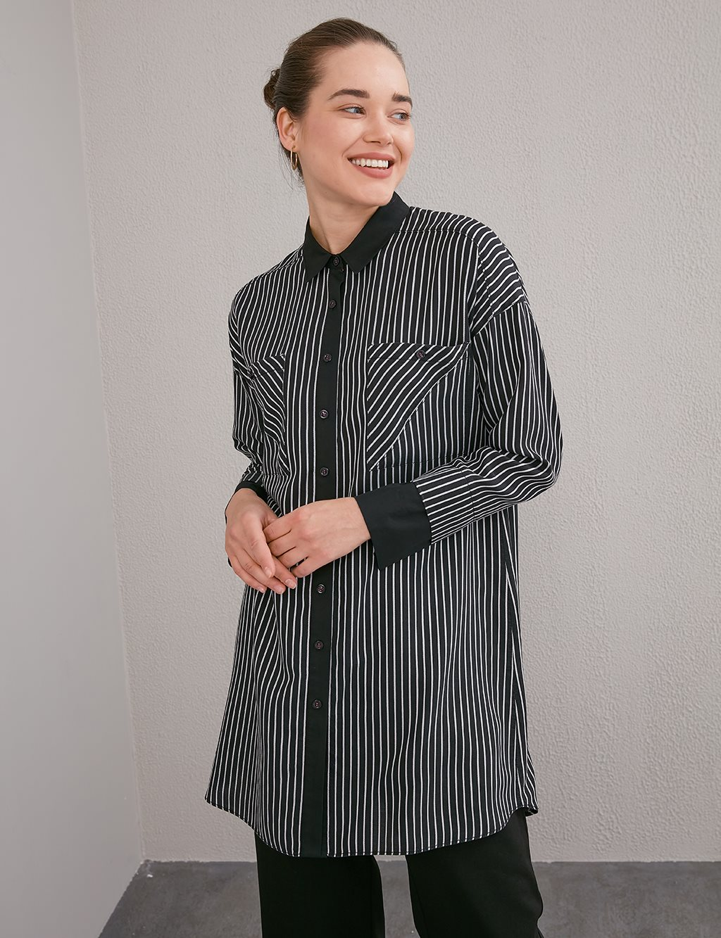 Striped Tunic With Double Pocket A20 21236 Black