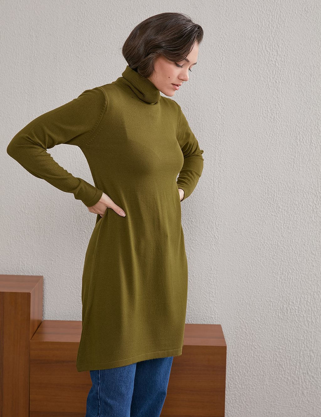Basic Turtleneck Knitwear Tunic SZ TRK40 Khaki