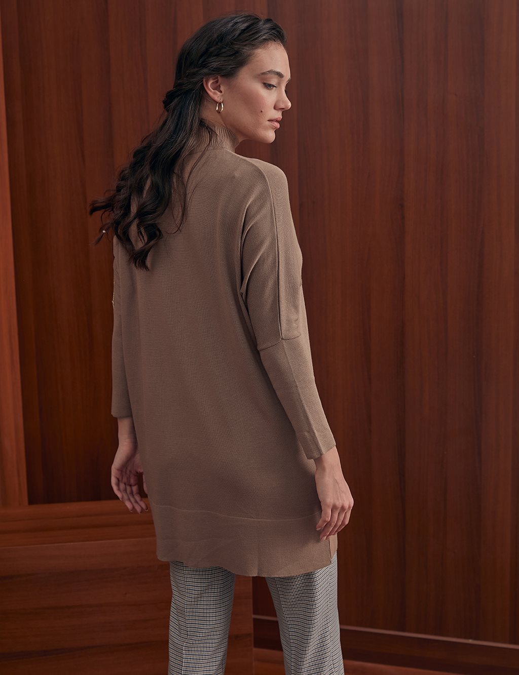 Button Detailed Knit Tunic A20 TRK43 Beige