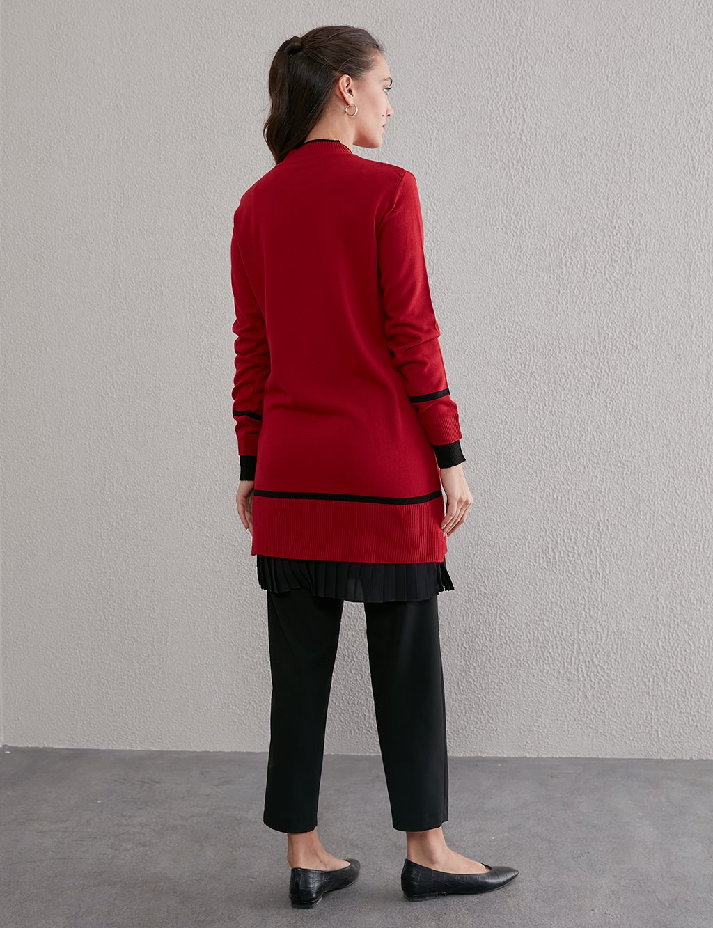 Pleated Knit Tunic A20 TRK45 Red