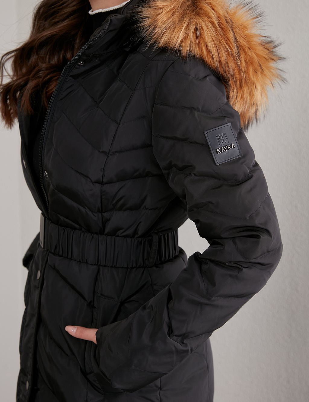 Zigzag Pattern Quilted Goose Down Coat A20 27004 Black