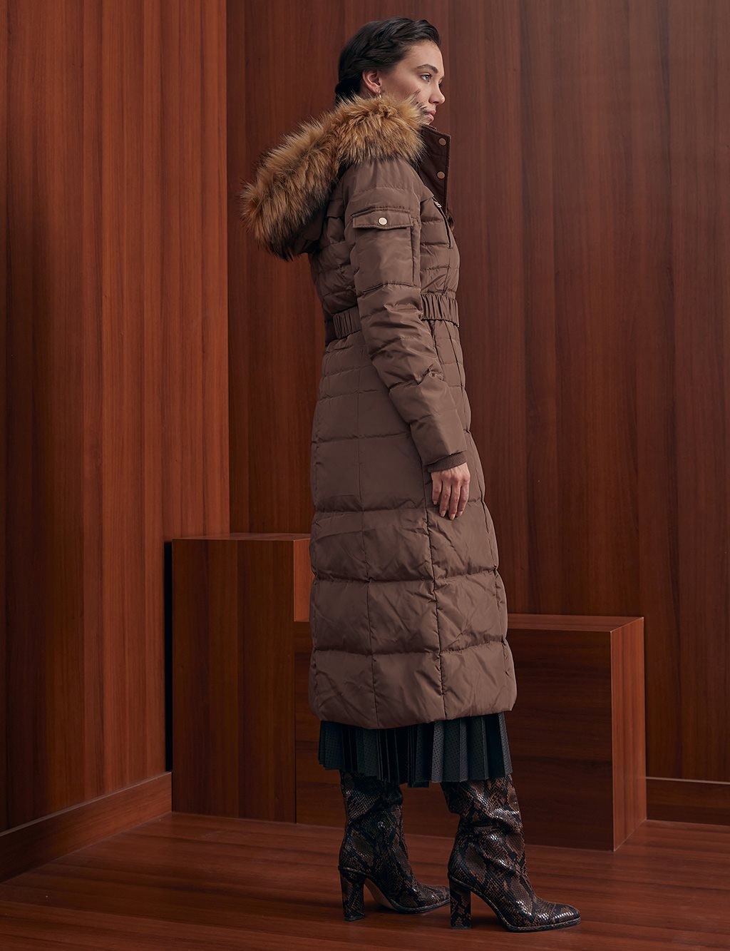 Long Goose Down Coat With Furry A20 27003 Camel