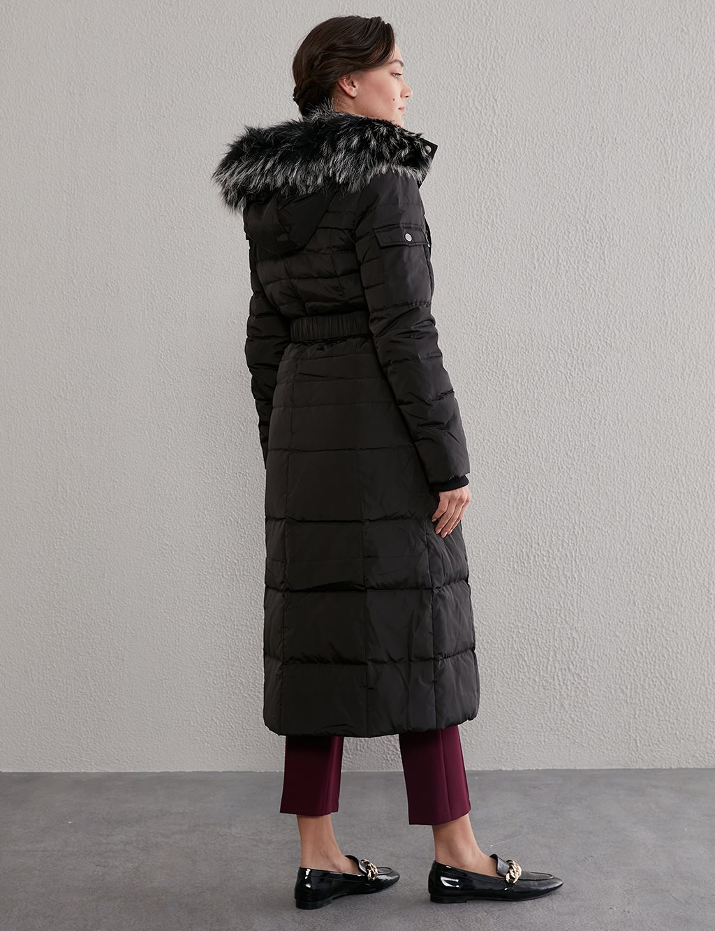 Long Goose Down Coat With Furry A20 27003 Black