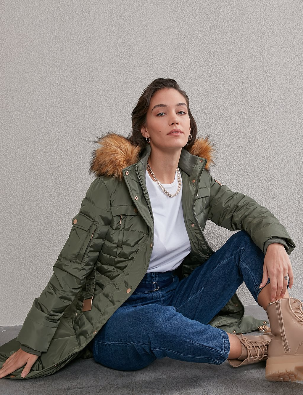 Long Goose Down Coat With Furry A20 27003 Khaki