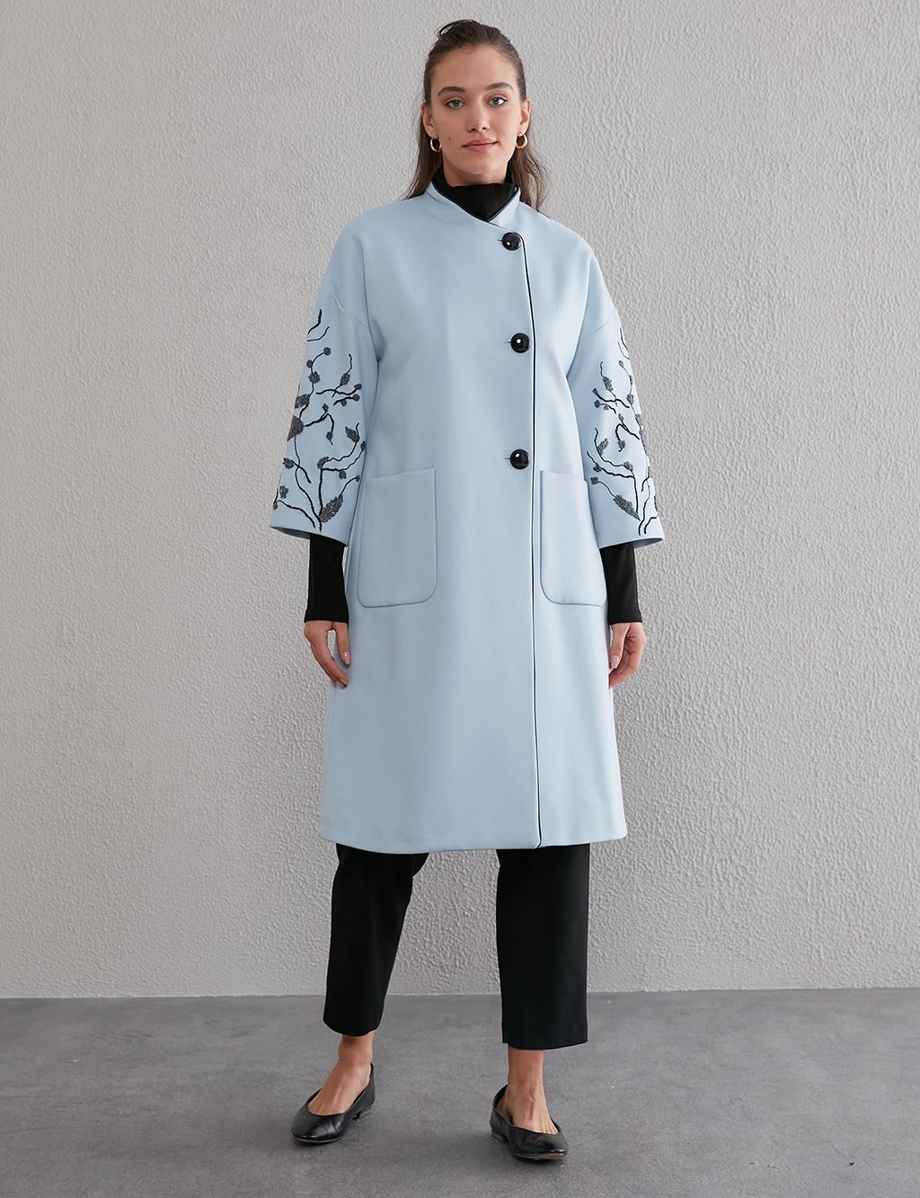 Embroidered Sleeve Pocket Coat A20 17001 Blue