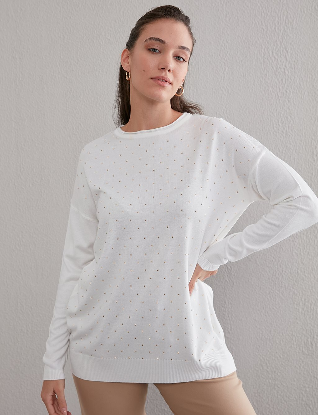 Metal Embroidered Knit Tunic A20 TRK22 Ecrue