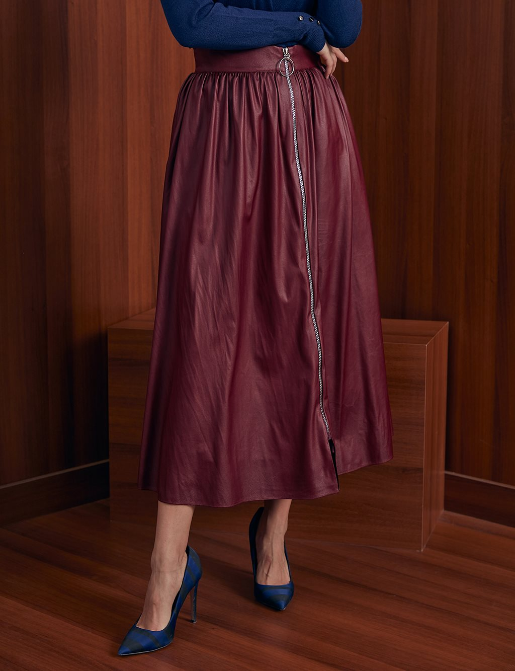 KYR Zipper Detailed A-line Skirt A20 72099 Burgundy