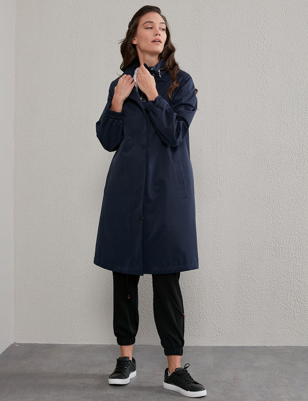 Hooded Sport Trench Coat A20 14027 Navy