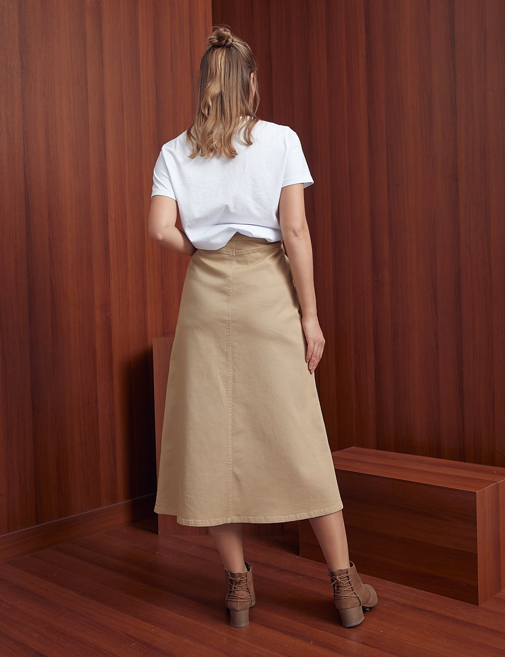 Jean Skirt with Double Pocket A20 12039 Camel