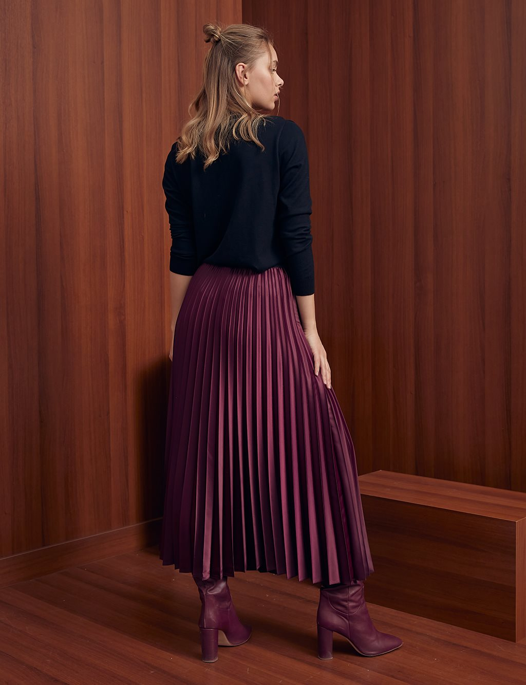 Inside Satin Pleated Skirt A20 12046 Burgundy