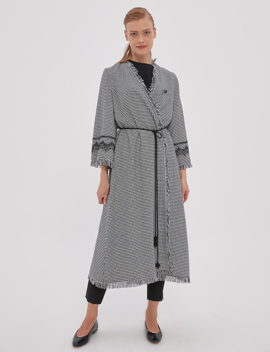 Goose Foot Pattern Fringed Trench Coat A20 25109 Black